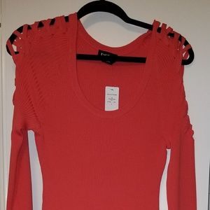 Bebe coral sweater dress with cutout long sleeves